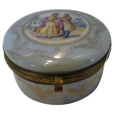 Czechoslavakia Hand Painted Porcelain Jewelry Casket Trinket Box
