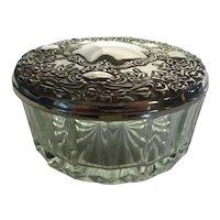 Vintage Glass Boudoir Vanity Jar w Silver Plated Lid