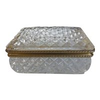 Vintage Lead Crystal Hinged Jewelry Trinket Box
