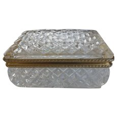 Vintage Lead Crystal Hinged Jewelry Trinket Box