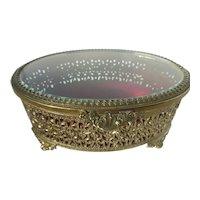 Vintage Filigree Beveled Glass Jewelry Casket Keepsake Box