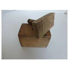 Primitive Wooden Butter Mold Press Crisscross Pattern One Pound