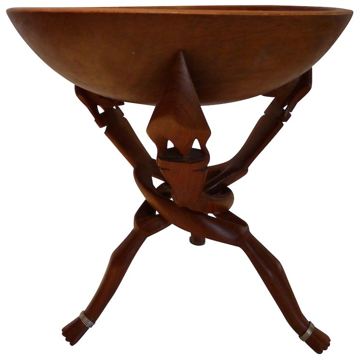 Tribal African Carved Wooden Tripod Table Stand U0026 Bowl