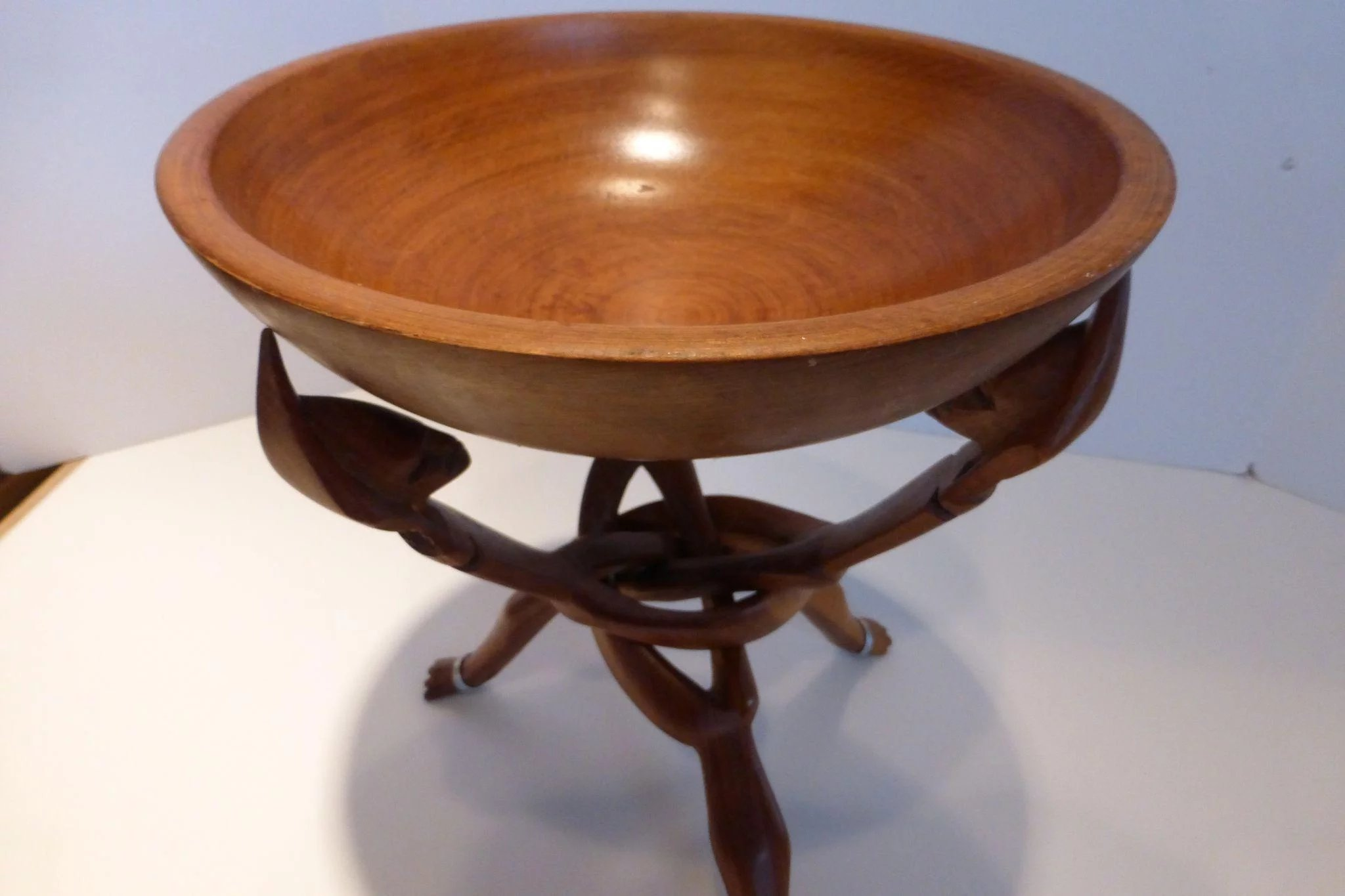 Tribal African Carved Wooden Tripod Table Stand Amp Bowl