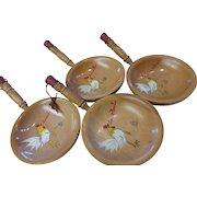 Vintage Wood Painted Rooster Snack Bowls Set of 4 Japan