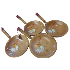 Vintage Wood Painted Rooster Snack Bowls Set of 4 Japan