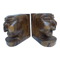 Hand Carved Wood Tribal Bust Bookends
