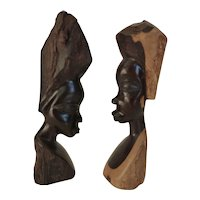 Vintage African Ebony Wood Bust Sculpture Man & Woman Pair