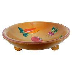 Munsing Robinhood Ware Wood Footed Bowl Vegetable Paintings