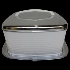 Vintage Square Cake Saver Carrier w Lid & Handle Chrome & White Enamel