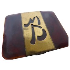 Faux Tortoise Shell Cigarette Case with Brass Trim