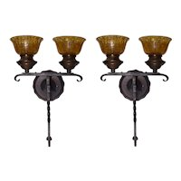Pair of Spanish Revival Wrought Iron Sconces with Amber Crackle Glass Shades