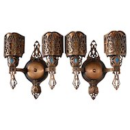 torch style sconce with cranberry to clear overshot flame shade