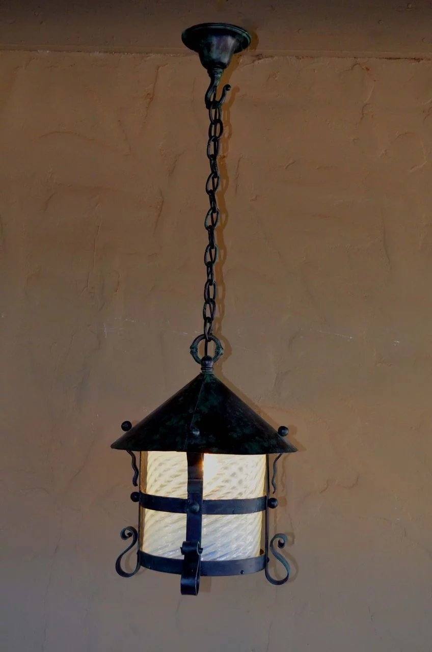 Arts And Crafts Wrought Iron Hanging Lamp With Opalescent