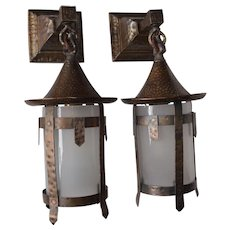 Pair of Arts and Crafts Sconces with Glass Cylinder Shades - Red Tag Sale Item