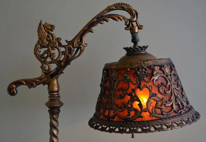 Tudor style figural bridge lamp with mica shade sold ruby lane tudor style figural bridge lamp with mica shade aloadofball Image collections
