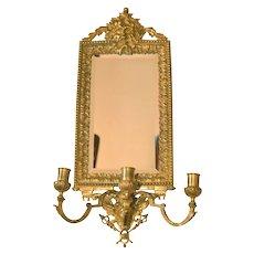 Victorian French Bronze Gilt Beveled Candelabra Mirror