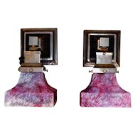Mission Style Arts and Crafts Sconces With Bournique Shades
