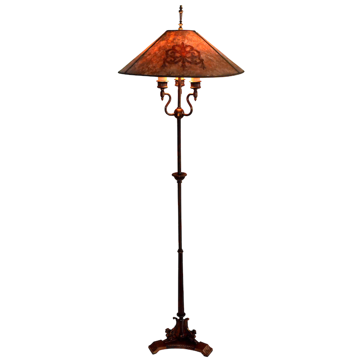 Lamps And Lighting >> Antique Floor Lamp With Mica Shade Signed Mutual Sunset Lamp Co
