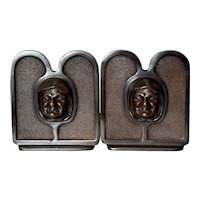 Arts and Crafts Style Grimacing Monk Bronze Bookends