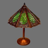 Arts Crafts Slag Glass Lamp, Signed Miller, with Brickwork Shade