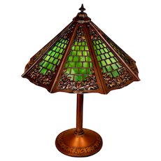 Arts Crafts Slag Glass Lamp, Signed Miller, with Brickwork Shade