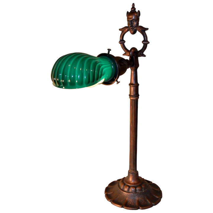 newest 1ee9c 2c73d Signed Rembrandt Genie Desk Lamp with Vintage Ribbed Case Green Shade