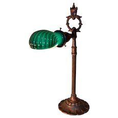 Signed Rembrandt Genie Desk Lamp with Vintage Ribbed Case Green Shade
