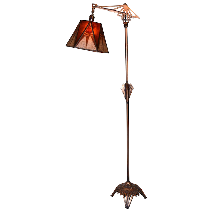 Lamps And Lighting >> Art Deco Floor Lamp With Period Geometric Mica Shade