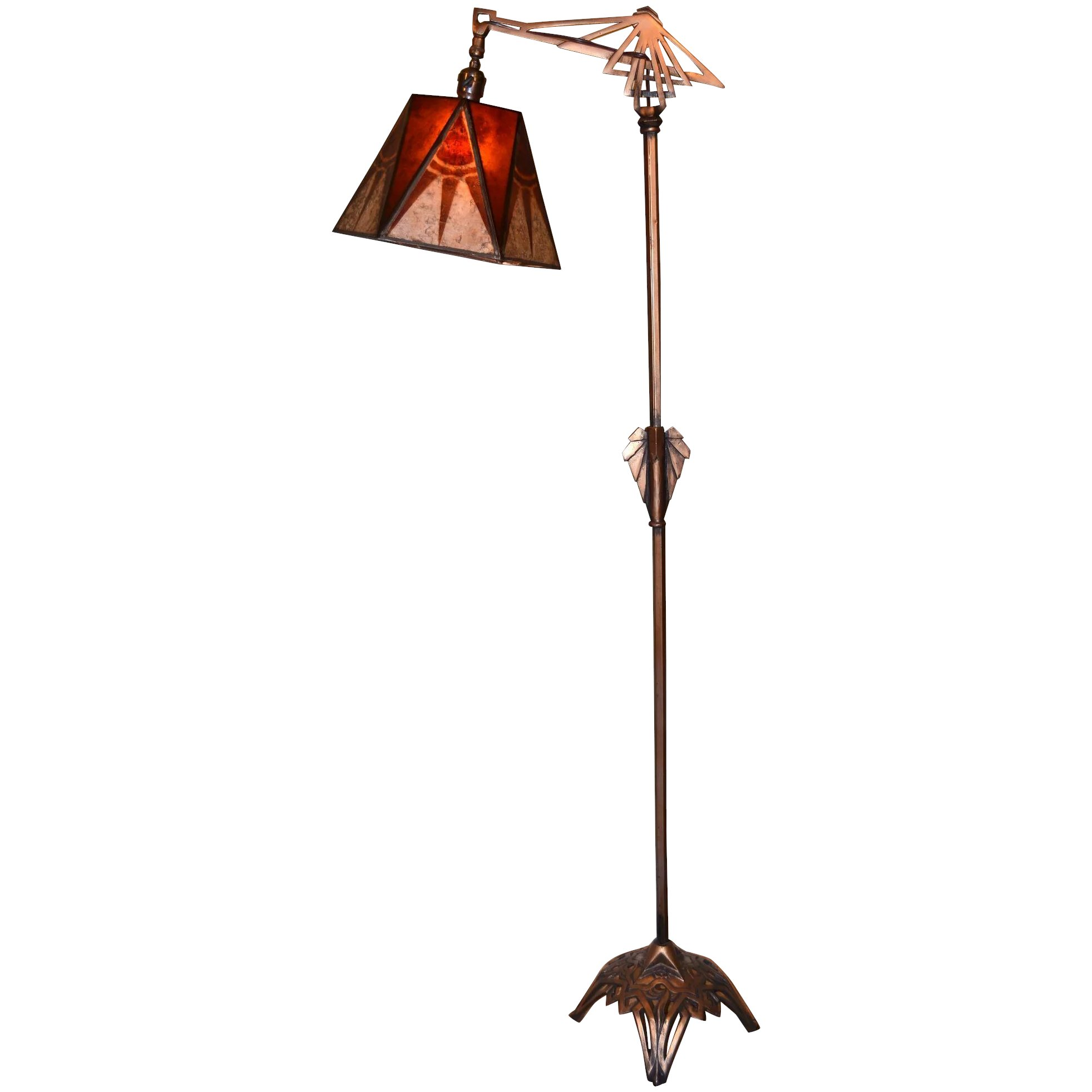 pretty nice 157b3 eac60 Art Deco Floor Lamp With Period Geometric Mica Shade