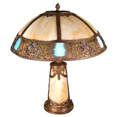 Slag Glass Panel Lamp with Lighted Base and Multicolored  Border