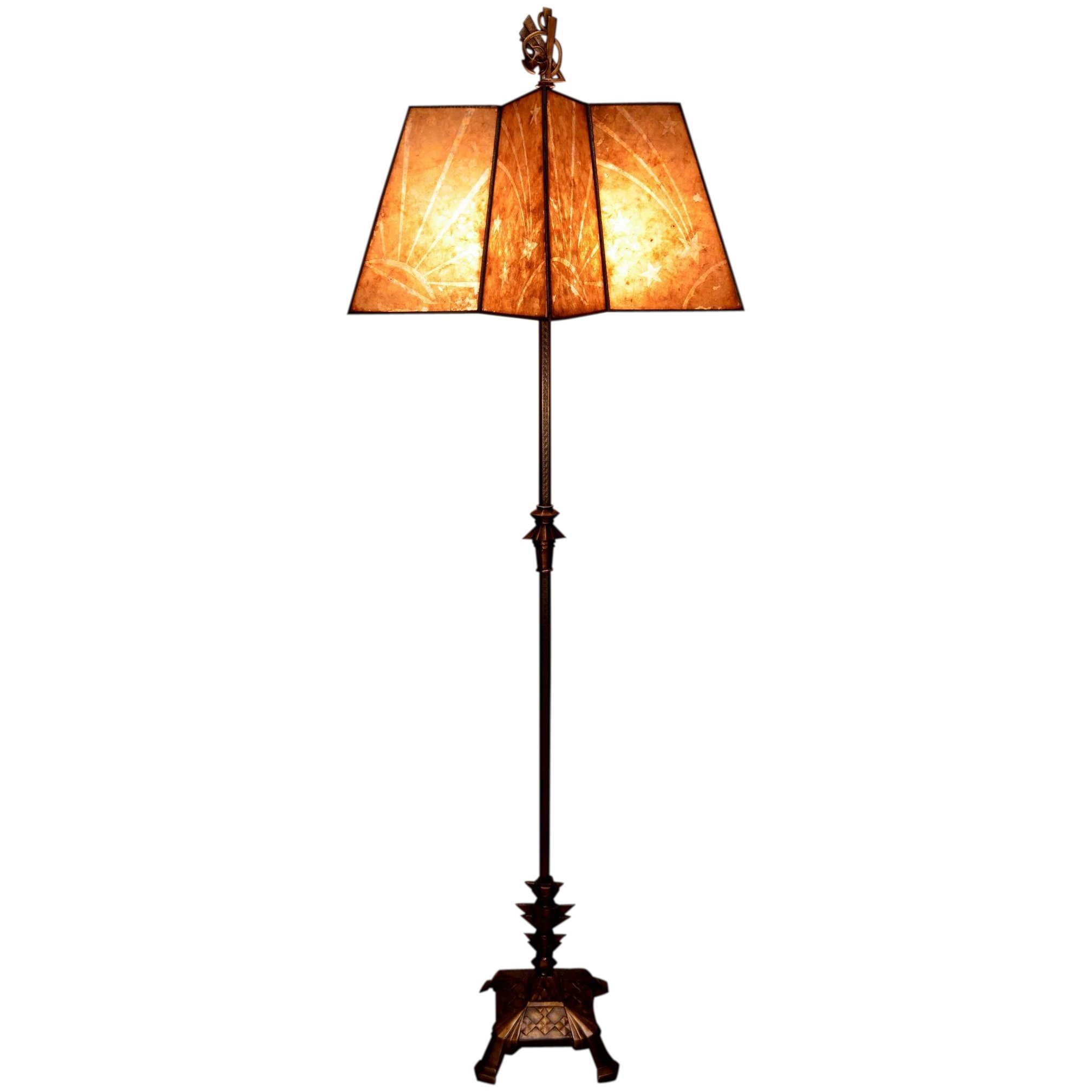 Art Deco Floor Lamp With A Star Shaped Decorated Mica Shade
