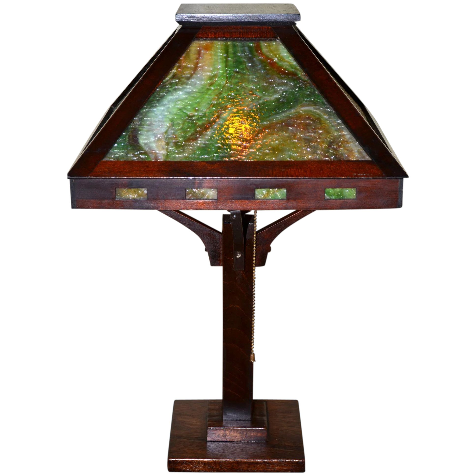 Arts And Crafts Slag Glass Mahogony Table Lamp With Granite Texture Vintage Lamps And Lighting Ruby Lane