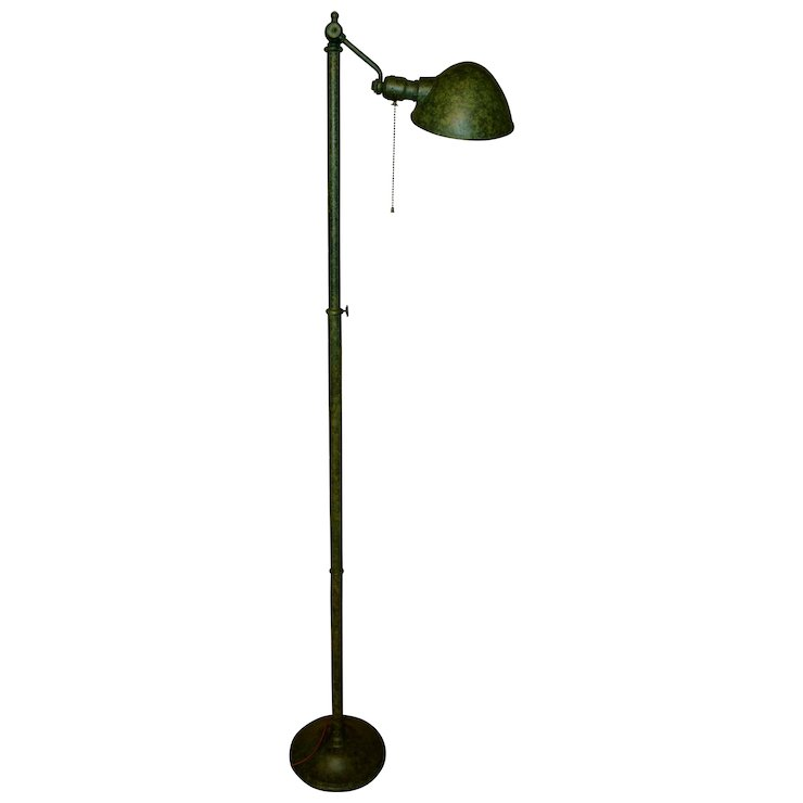 Bradley And Hubbard Signed Adjustable Height Floor Lamp With Frog Skin  Finish