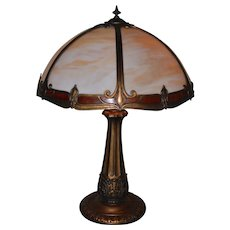 Slag Glass Lamp Signed Miller Lamp Co. With Painted Border