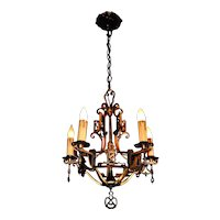 Tudor Spanish Revival Style Solid Bronze Chandelier