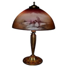 Pittsburgh Signed Winter Scene Painted Lamp