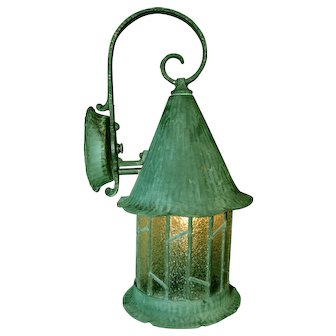 Arts & Crafts Tudor Style Porch Light Leaded Glass and Copper