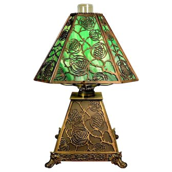 Bradley and Hubbard Arts and Crafts Slag Glass Lamp with Pine Cone Motif