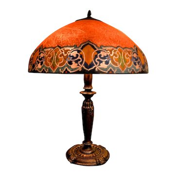 Handel Reverse Painted Lamp With Vibrant Colors
