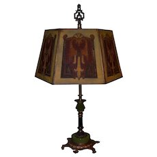 Signed Rembrandt Table Lamp with Period Mesh Screen Shade
