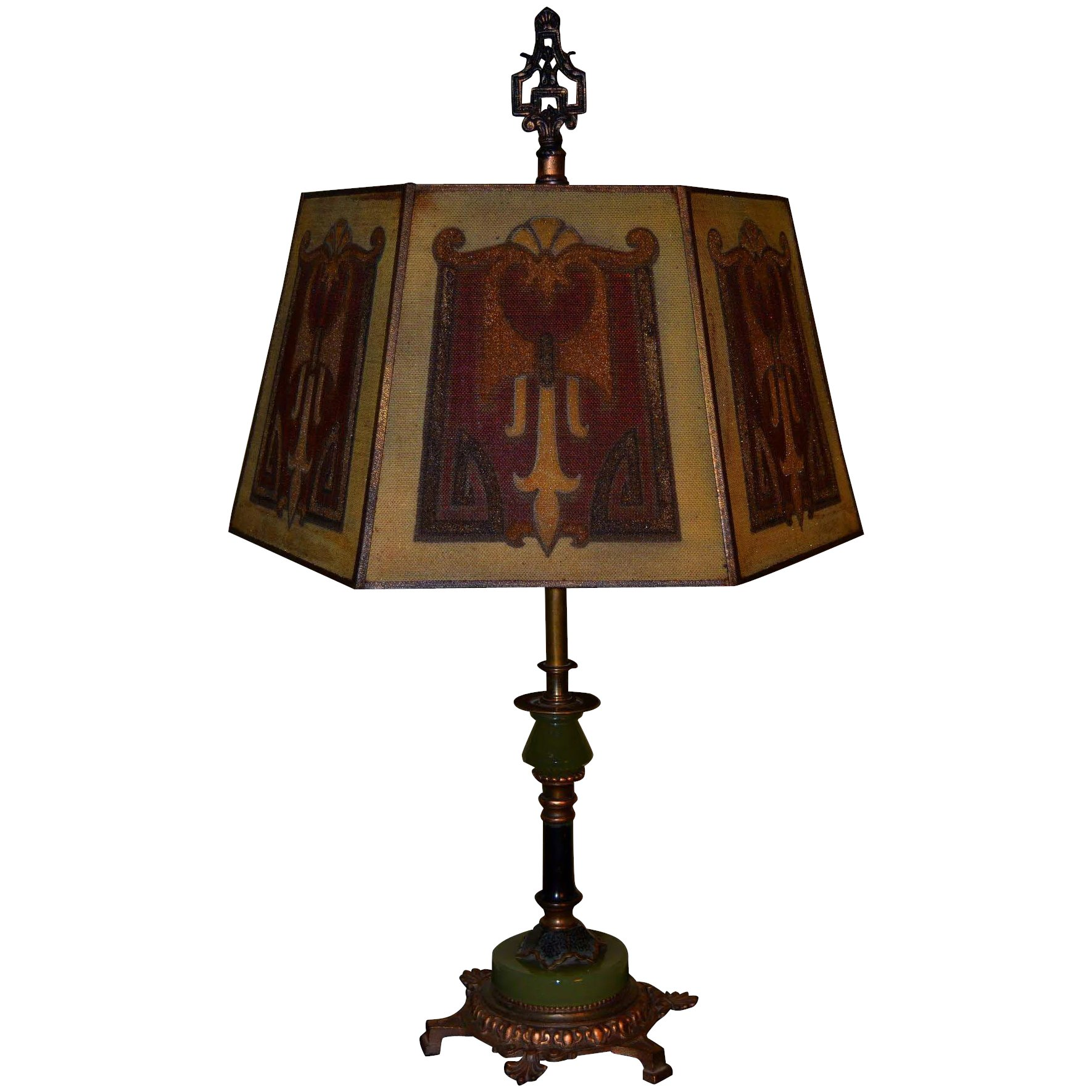 Signed Rembrandt Table Lamp With Period Mesh Screen Shade Vintage Lamps And Lighting Ruby Lane