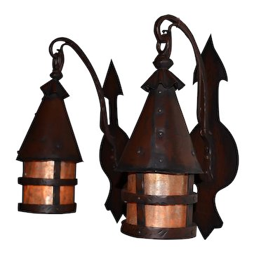 Arts and Crafts Hand Hammered Iron Sconces With Mica Inserts