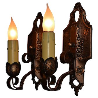 Pair of Spanish Revival Single Candle Sconces