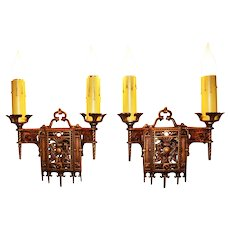 Pair of Thistle Motif 1920's Sconces Signed Crescent Co.