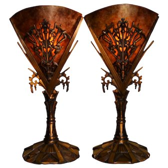 Art Deco Pair of Bronze Mantle Lamps with Mica Shades