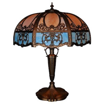 Large and Impressive Slag Glass Panel Lamp By Empire Lamp Co.