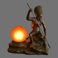 Signed Jennings Brothers Seated Native American Indian Lamp