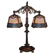 Ornate Double Shade Slag Glass Lamp With Female Face