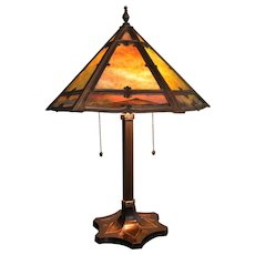 Signed Miller Slag Glass Lamp With Bi-Color Scenic Painted Border